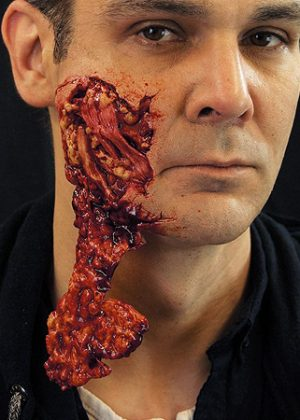 torn face prosthetic
